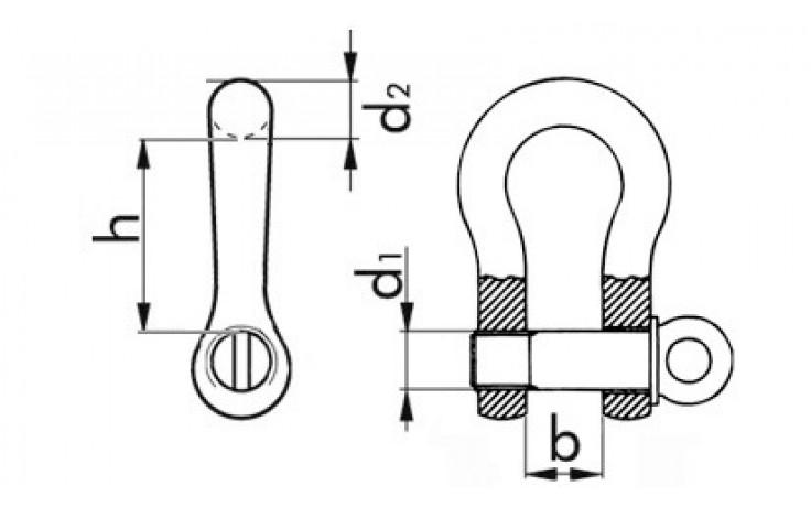 Schäkel, hochfest, geschweift, feuerverzink, 38 mm, 13,5 Tonnen