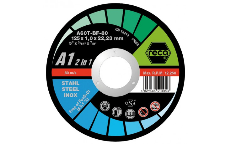 RECA Trennscheibe A1 2in1 gekröpft Durchmesser 230 mm Stärke 1,8 mm Bohrung 22,2 mm