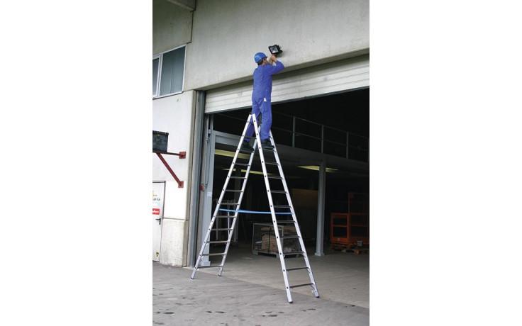 Stabilo Alu-Doppelleiter, Sprossen 2x12, Höhe 3,45 m, Arbeitshöhe 4,60 m,13,5 kg