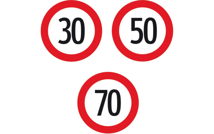 "Baustellenverkehrszeichen § 52/10a Geschwindigkeitsbeschränkung ""30"" 670 x 1,5 mm"