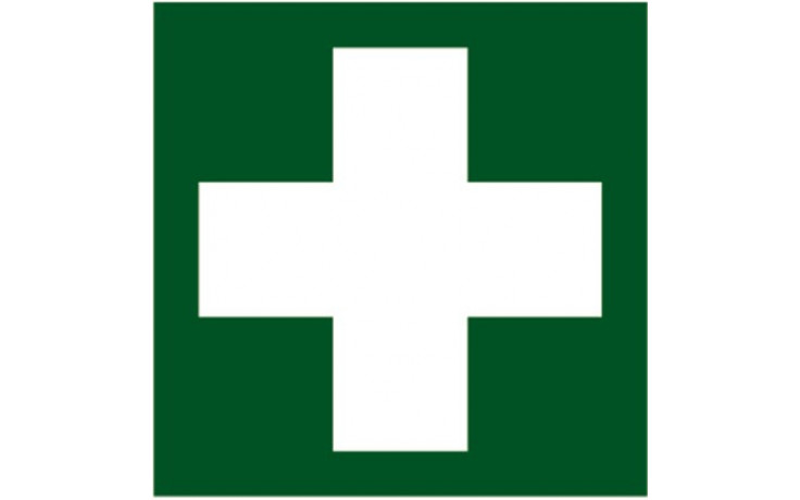 """Rettungszeichen """"Erste Hilfe"""" nach ÖNORM EN ISO 7010 200x200 mm aus Kunststoff"""