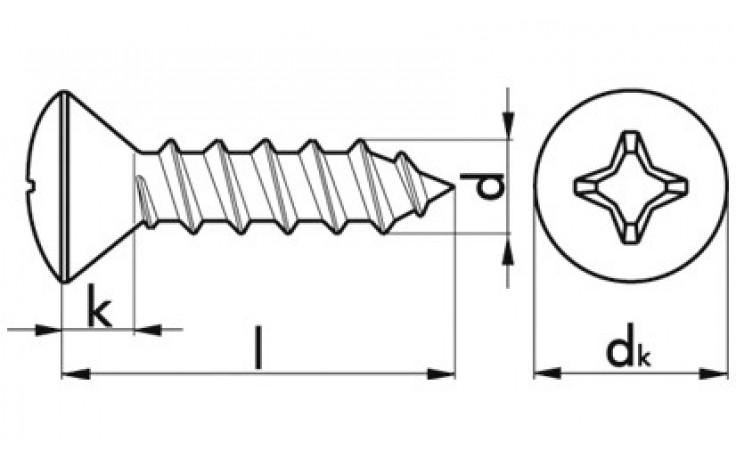 Blechschraube m.Linsensenkkopf u.PH-Kreuzschlitz 2,9x22 mm DIN 7983 Stahl vzkt.