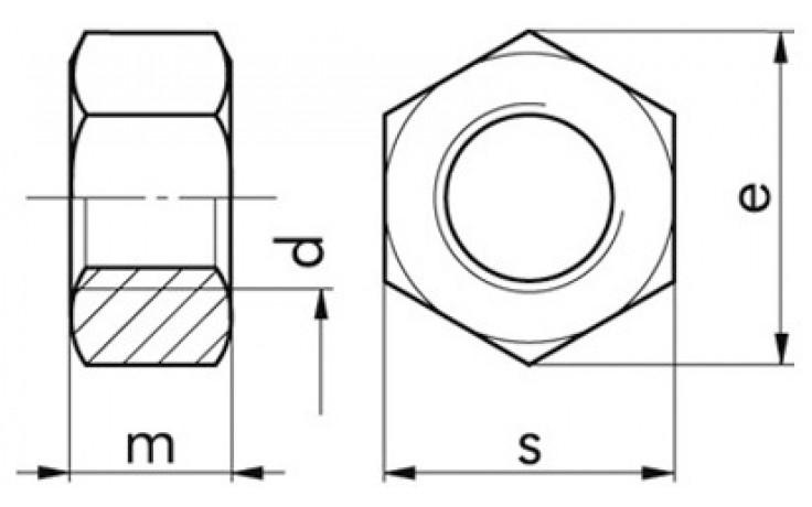 Sechskantmuttern UNC 3/4 Zoll DIN 934 GR.5 Stahl verzinkt