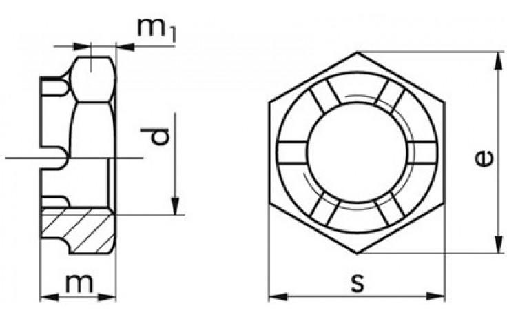Kronenmuttern M14 x 1,5 DIN 979 FKL 04 Stahl gelb verzinkt