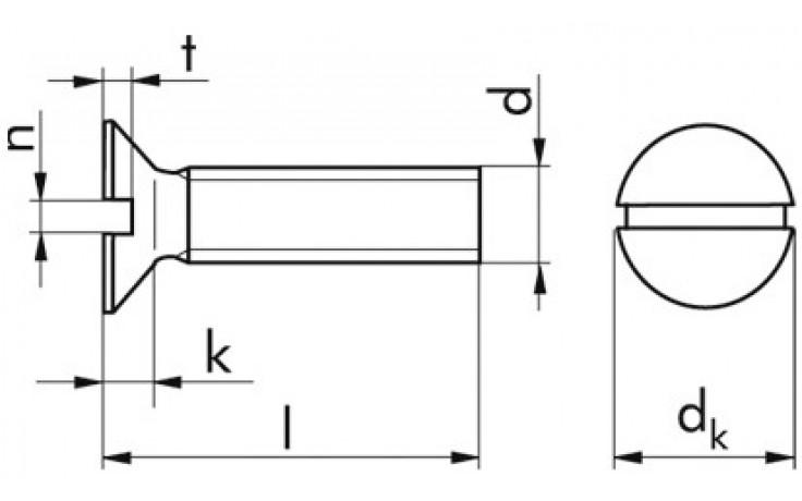 Senkschraube DIN 963 - 4.8 - Zinklamelle silber - M8 X 16
