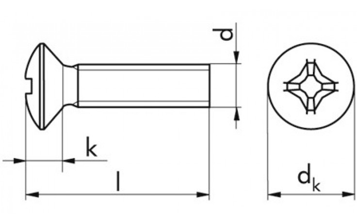 Gew.Schrb. m. Lins.Senkkopf u. Kreuzschlitz M4x10 DIN 966 FKL 4.8 Stahl verzinkt