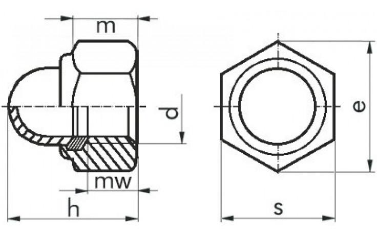 Stopp-Hutmuttern DIN 986 M6 DIN 986 FKL 8 Stahl gelb verzinkt
