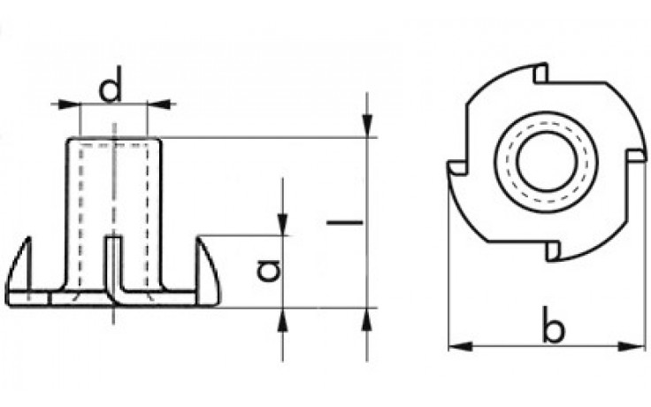 Einschlagmutter - Stahl - verzinkt blau - M6 X 12