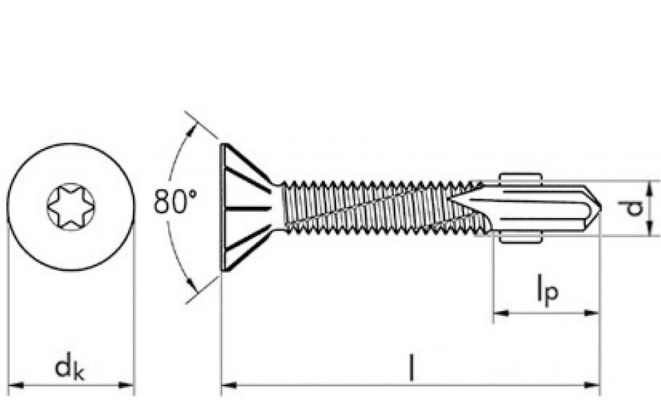 RECA Flügel-sebS Stahl verzinkt Fräsrippen Senkkopf 15 mm TX 30 6,3 x 80 mm