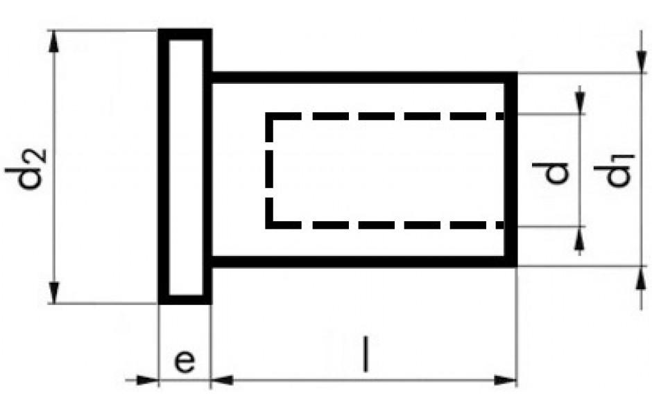 Blindnietmuttern Flachrundkopf Aluminium M 6 x 14,5 mm