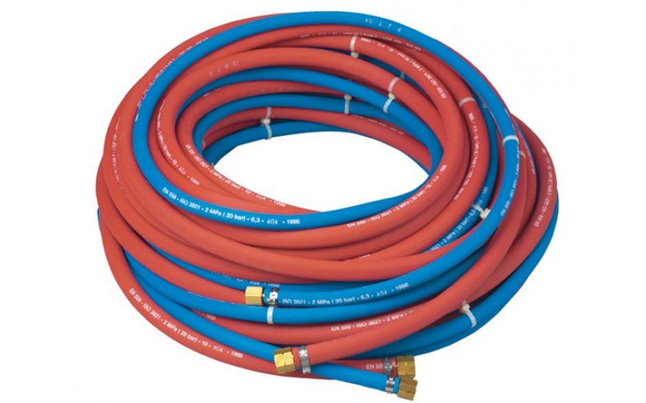 Gummischlauch für Gas 9 mm LW (20 m Rolle) mit Anschluss