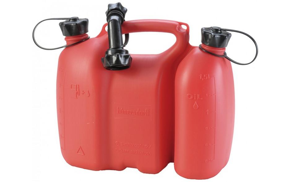 Kombikanister für 3,5 Liter Kraftstoffgemisch und 1,5 Liter Kettensägeöl