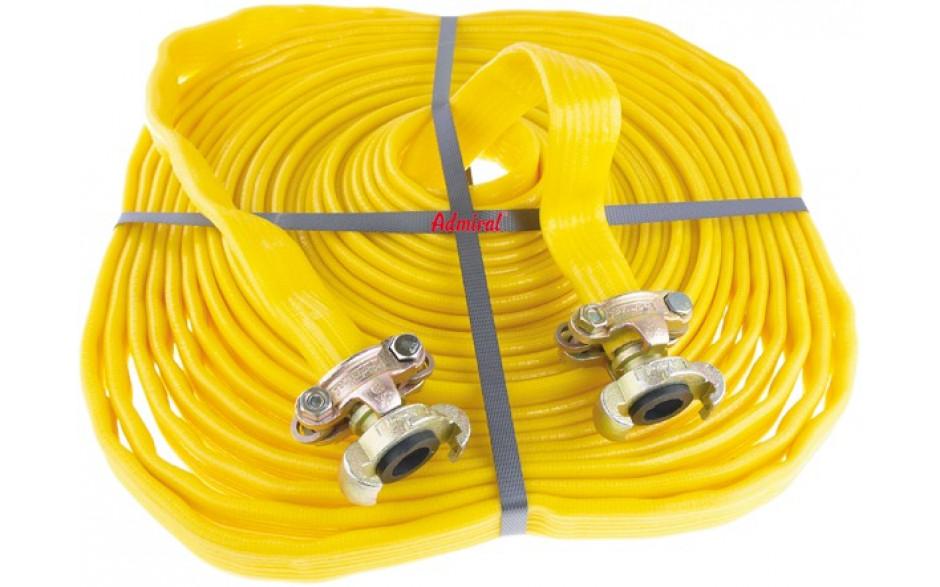 """Pressluftschlauch flach gelb Garnitur mit Pressluft-Klauenkupplungen 3/4"""" Länge 20 m"""