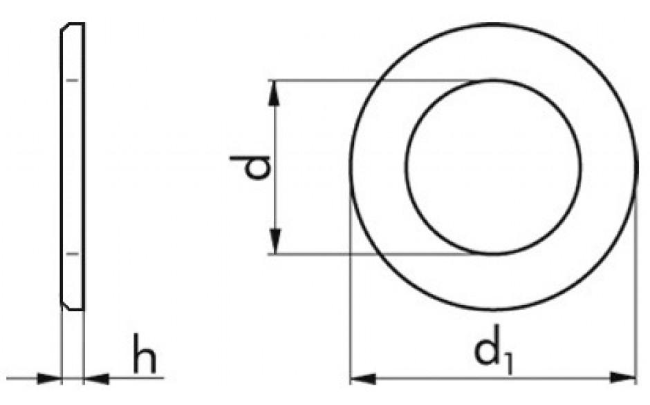 Beilagscheiben M5 = 5,3 mm DIN 125 Form B HV 140 Stahl weiß verzinkt
