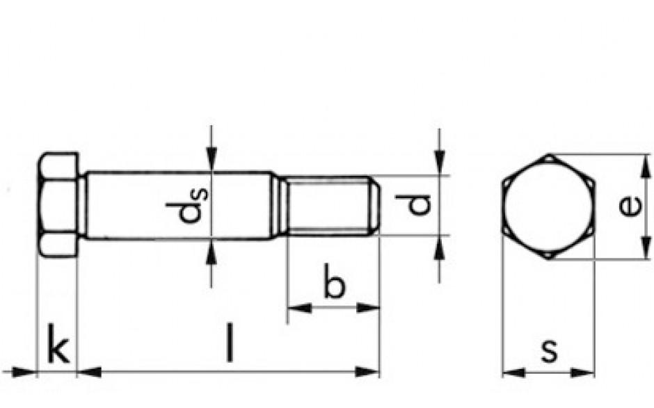 Sechskant-Paßschraube M8 x 30 DIN 609 FKL 8.8 Stahl blank
