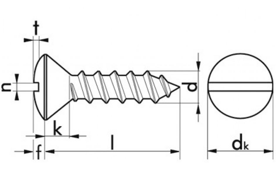 Blechschrauben mit Linsensenkkopf und Schlitz 3,9 x 25 DIN 7973 Stahl verzinkt