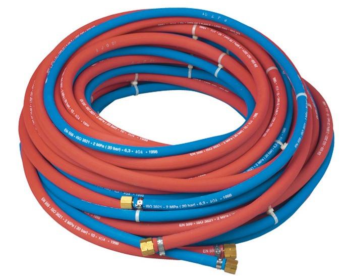 Gummischlauch für Sauerstoff 6 mm LW (20 m Rolle) mit Anschluss