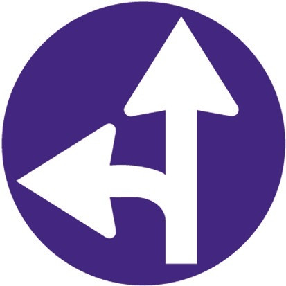 Baustellenverkehrszeichen § 52/15a Vorgeschriebene Fahrtrichtung 480 x 1,5 mm