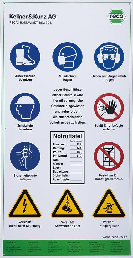 Baustellensicherheitstafel aus Polystrol, mit Verbots-,Gebots-, und Warnzeichen