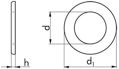Beilagscheiben M4 = 4,3 mm DIN 125 Form B HV 140 Stahl weiß verzinkt