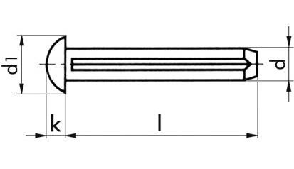 Halbrundkerbnägel 2,6 x 8 DIN 1476 (ISO 8746) Stahl blank