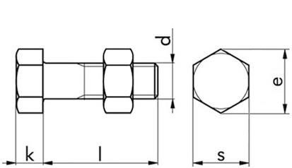 Sechskantschraube mit Mutter DIN 601 - 4.6 - feuerverzinkt - M10 X 20