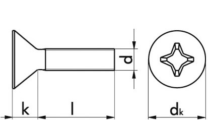 Gewindeschraube m.Linsenkopf und PH-Kreuzschlitz M4x10 DIN 7985 FKL 4.8 ST blank