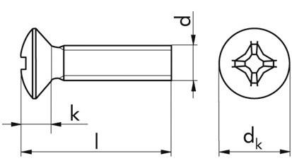 Linsen-Senkschraube DIN 966 - 4.8 - verzinkt blau - M4 X 10 - PH